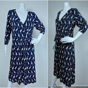 Boden Size 12L US Blue and Beige Design 3/4 Sleeve